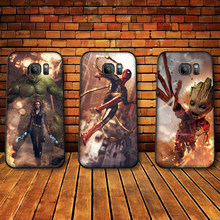 Luxury Black Case For Samsung A3 4 5 6 plus A8 9 A10 A20 30 A40 50 A60 A70 2017 M40 J6 Cover Marvel groot captain marvel(China)