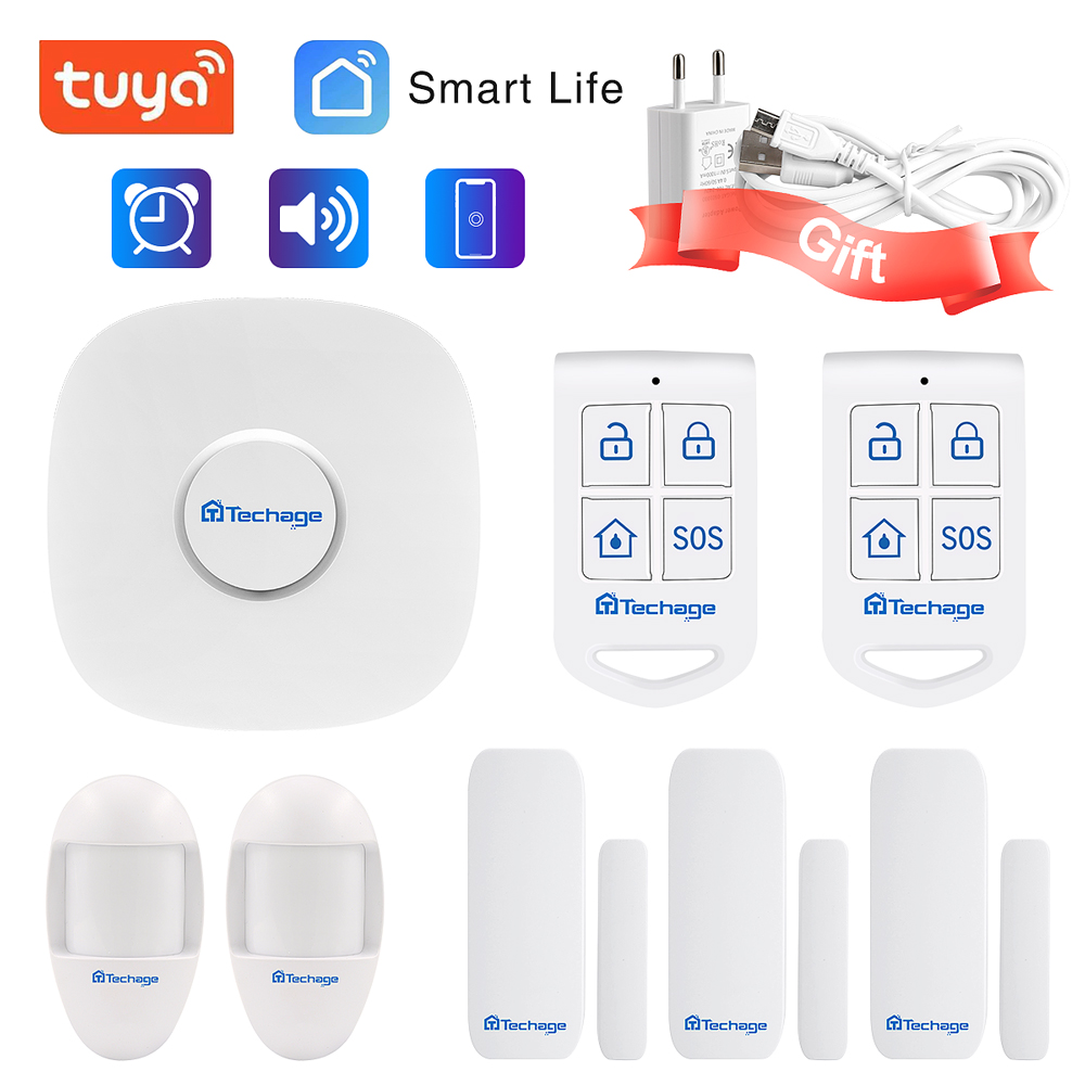 Techage WIFI Home Security Alarm System Infrared Sensor Used With Smart Life APP  Door / Window Sensor Wireless Anti-theft Alarm