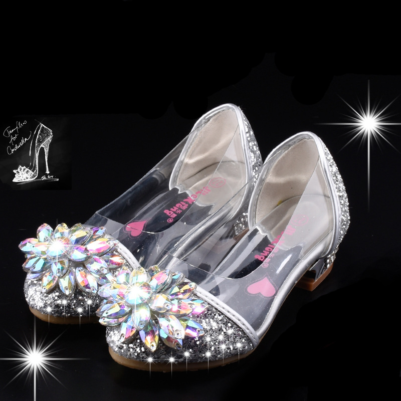 Clear Glass Slippers Cinderella Fairytale Costume Cosplay Shoes Kids Girls Shoes Cute Princess Luxury Floral Diamond Stud Pink