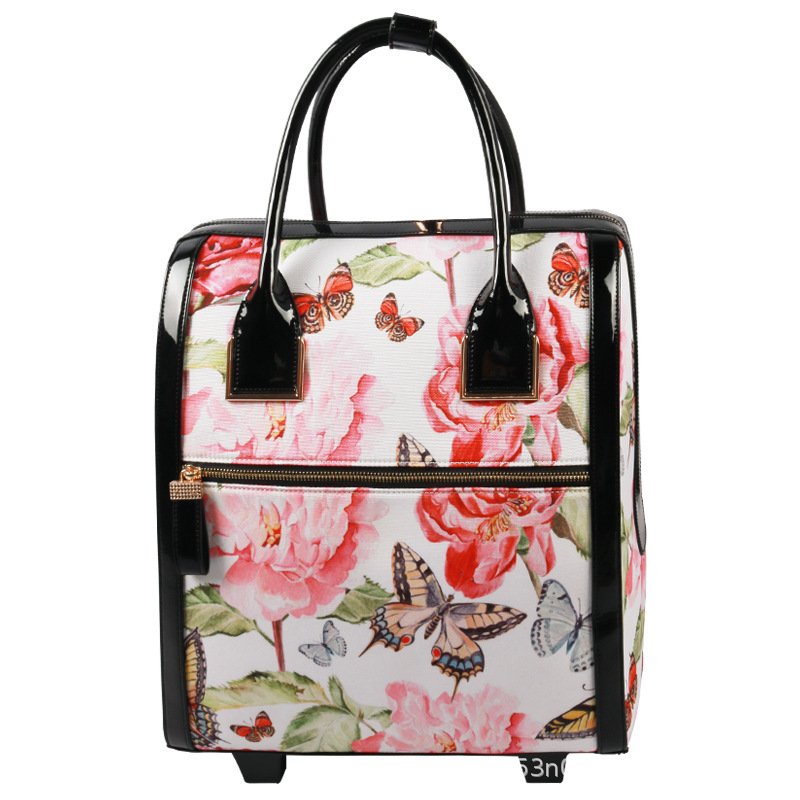 New Style One-way Wheel Pu Travel Leather Suitcase Women's Manufacturers Direct Selling INS Online Celebrity Flower Zipper Trave
