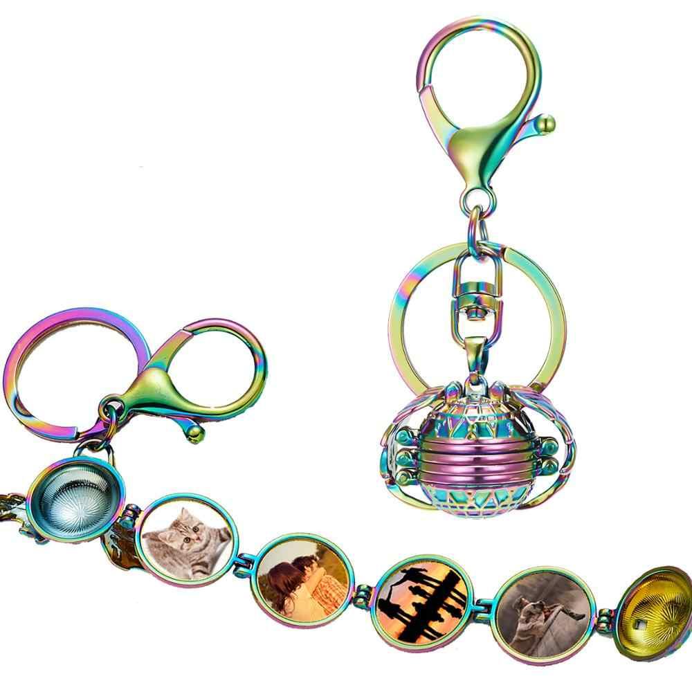 Magic Floating ขยาย Photo Locket พวงกุญแจครอบครัวหน่วยความจำ Angel Wing อัลบั้ม Multi-Layer Ball กล่องแหวนเครื่องประดับ DIY ของขวัญ