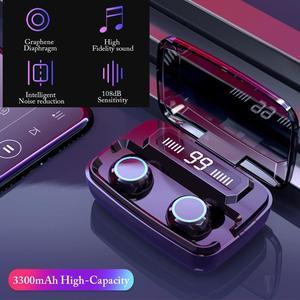 Briame LED Bluetooth Wireless Earphones Headphones Earbuds TWS Touch Control Sport Headset Noise Cancel Earphone Headphone