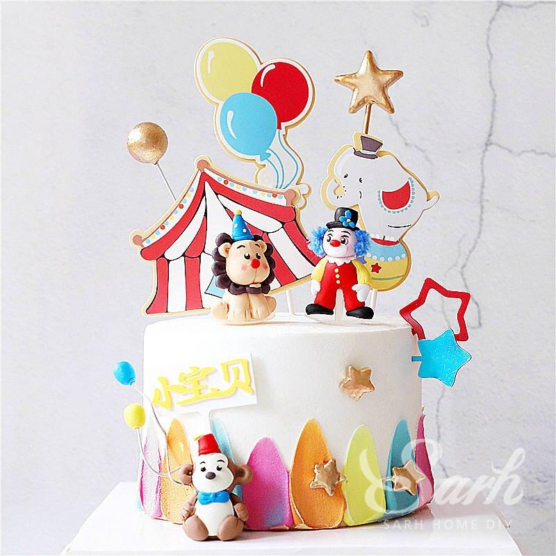 Обезьяна клоун слона глина украшение полые звезды цирк с днем рождения свадьба торт Топпер для выпечки товары милый подарок