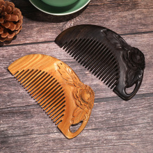 high quality Anti-static Wood Comb Carved green sandalwood Comb Travel Head Massage Hair Care Beauty Peony comb professional health care comb anti static massage green sandalwood comb handmade bamboo hair brush wedding birthday gift