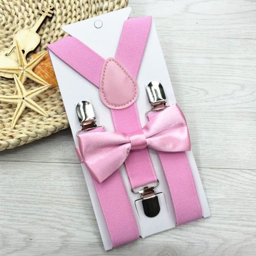 Kids Elastic Suspenders Bow Tie Matching Tuxedo Suit Y-Back Brace Belt Multi-color Bowtie Children Costume Adjustable