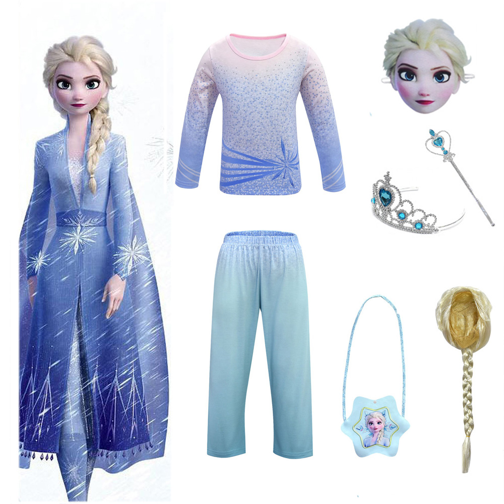 2019 New <font><b>Anna</b></font> Elsa <font><b>2</b></font> Girl Tshirt Pants <font><b>Frozen</b></font> <font><b>2</b></font> Christmas Halloween Set Cosplay Elsa Daily Home Tshirt Pants <font><b>Wig</b></font> Mask Set image