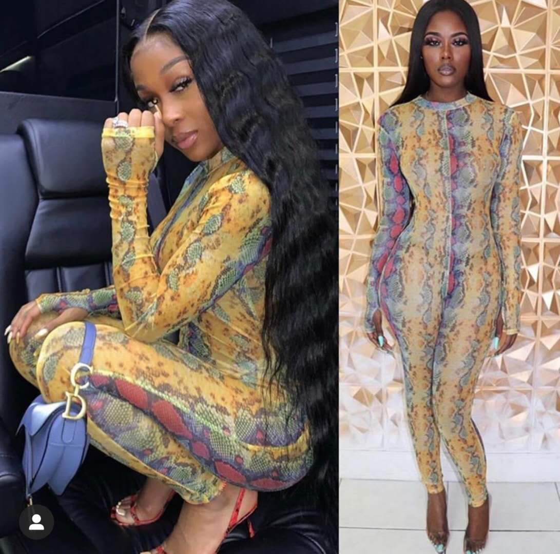 Joskaa Snake Skin Print Long Sleeve Mesh High Neck Sexy Bandage Holiday Outwear Romper Active Sports Pullover Jumpsuit