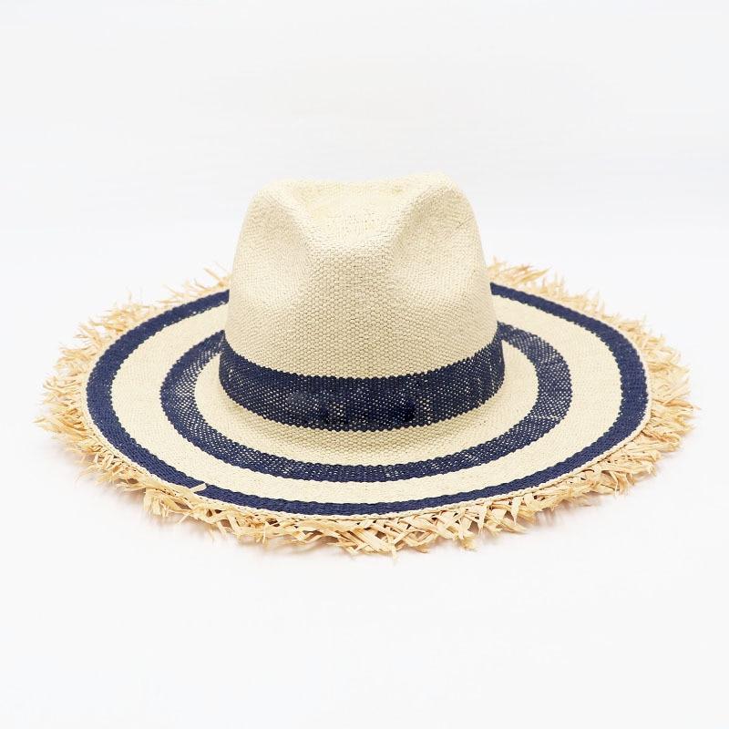 Classical Striped Raffia Fringed Paper Straw Hat Wide Brim Jazz Beach Hat Women Summer Sun Hat Man Cap UV Hat Kuntucky Derby Hat