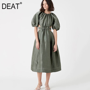 DEAT 2020 new spring and summer run way styles round neck lantern half sleeves high wiast hollow out big bottom dress WL22806(China)