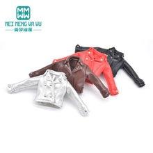 1 pçs blyth boneca roupas moda jaquetas de couro preto, vermelho, prata, marrom para blyth azone ob23 ob24 1/6 boneca acessórios