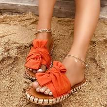 Chinelos de verão feminino senhoras sapatos de praia plana 2021 arco-nó feminino sandália costura confortável elegante mulher slides moda