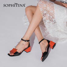 SOPHITINA Sandals Women Classics Sheepskin Leather Shoes Thick Heel Buckle Strap Mixed Colors Summer Fashion Female Shoes C959