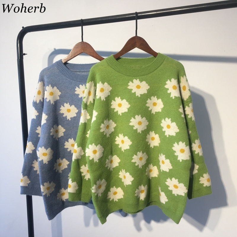 Woherb Autumn New Fashion Pullovers Women Flowers O Neck Long Sleeve Sweaters Jumpers Korean Sweet Knit Outerwear Students 90749