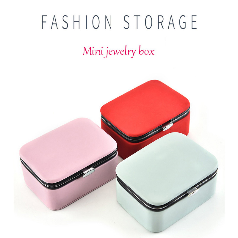 Portable Travel Mini Jewelry Box Storage Box Built-in Flannel PU Leather Jewelry Box Female Gift Travel Essential
