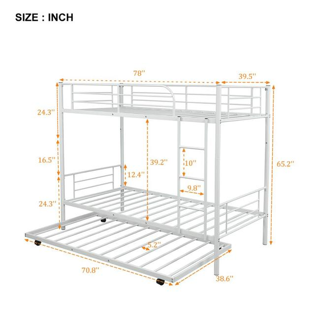 White Metal Twin Over Twin Loft Bunk Bed  5