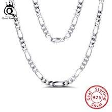 ORSA JEWELS-collar de cadena de Figaro para hombre, de plata de ley 925 italiana de 5,0mm con corte de diamante, joyería de cadenas SC34