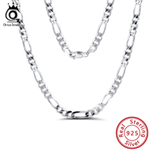 ORSA JEWELS Italian 925 Sterling Silver 5.0mm Diamond-Cut Figaro Chain Necklace Sterling Silver Men Necklace Chains Jewelry SC34