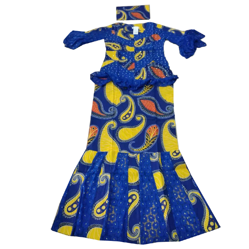 MD 2020 African Lace Dresses For Women Ankara Wax Skirt Short Rapper With Head Tie Dashiki Print Skirt South Africa Lady Clothes