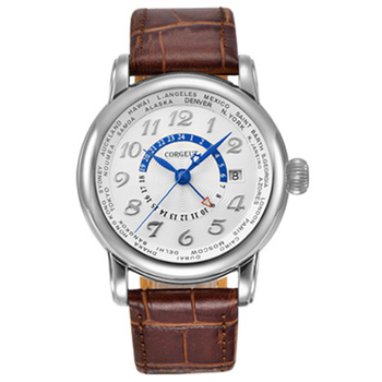 Corgeut 43MM Luxury Brand Mechanical Watch Leather Top Dual time zone GMT Automatic Men Watch  Mechanical Wrist Watch Steel case