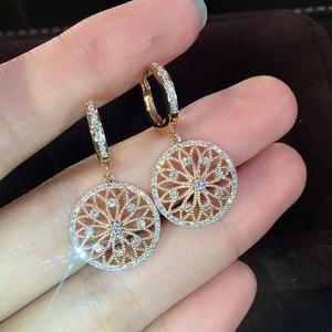 Diamond Earring Jewelry Peridot 14k Gold Wedding Pure-Gemstone Hollow Women Round Real