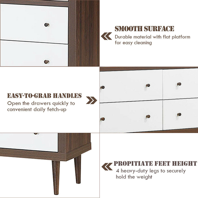 6 Drawer Wooden Chest of Drawers  3