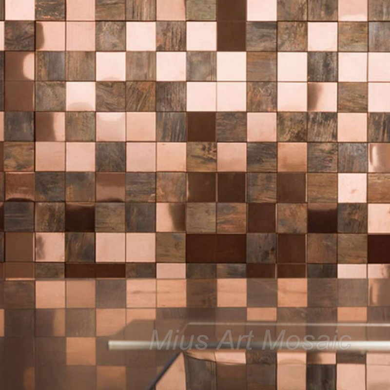 Classic Style Big Square 3d Copper Mosaic Tile Mix Rose Gold Stainless Steel For Kitchen Backsplash Shower Room Diy Wall Sticke Wallpapers Aliexpress