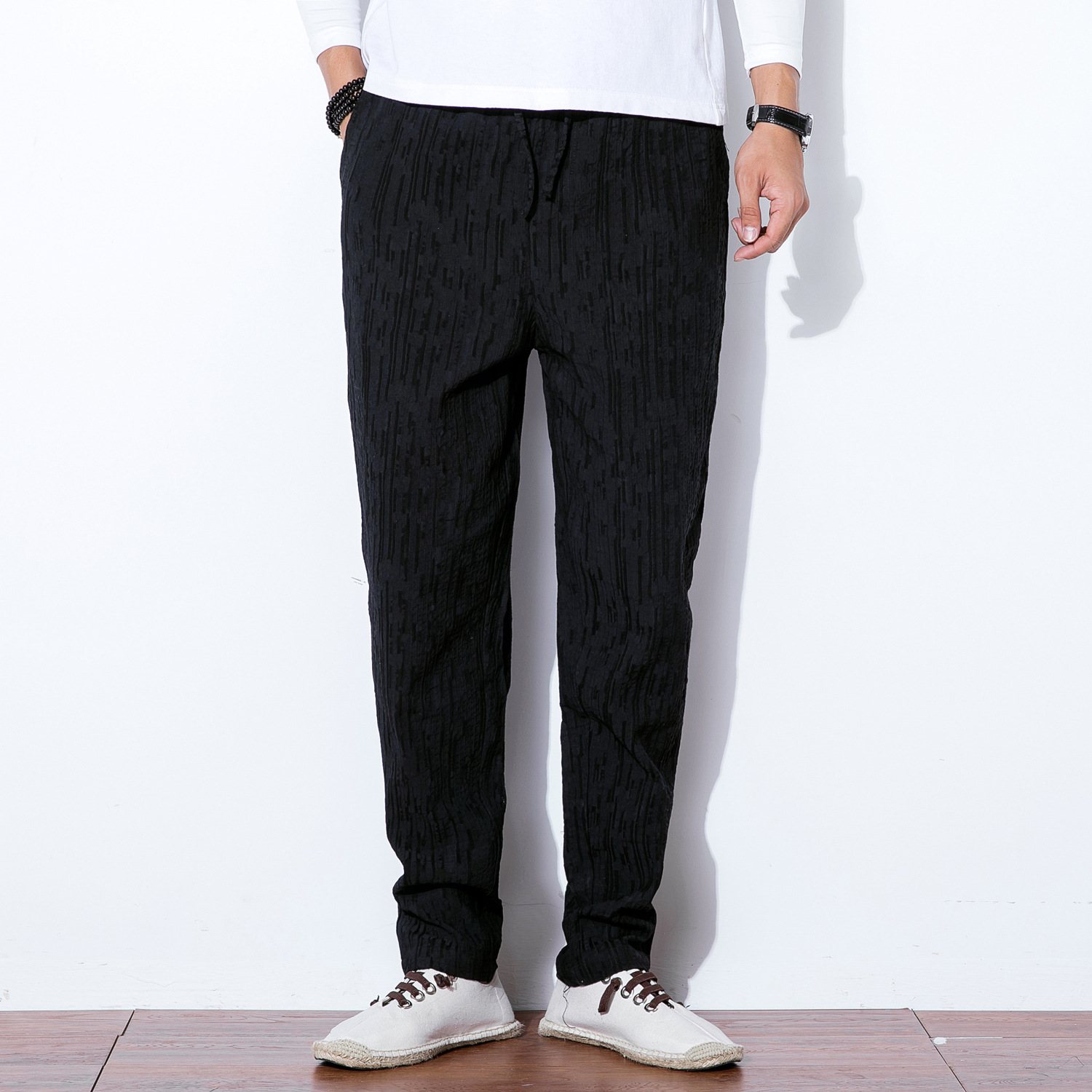 Chinese-style Cotton Linen MEN'S Trousers 2019 New Style Loose-Fit Straight-leg Pants Men Flax Casual Pants Retro Large Size Tro
