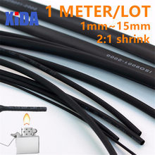 1 METER/LOT 2:1 Black 1mm~15mm Polyolefin Cable Sleeves Electronic component DIY Connector Repair heat shrink tube(China)