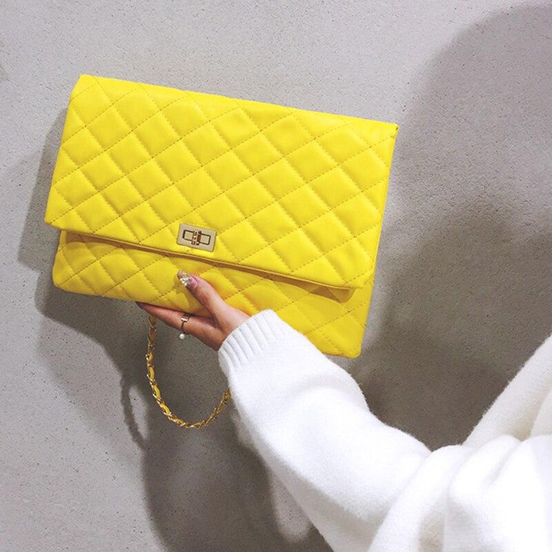 2019 Luxury Brand Designer Quilted Handbag Clutch Bags Ladies Yellow Envelope Big Tote Shoulder Crossbody Bag Women Sac Purse