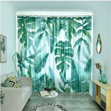 New curtains Nordic minimalist style green plants small fresh banana leaves living room bedroom windshield shading 3d