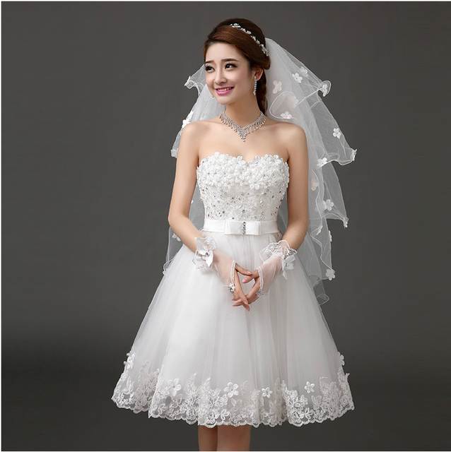 New white short knee length lady girl fairy wedding bridal dress party evening dancing performance dress free shipping 5
