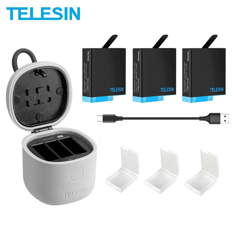 TELESIN 3PACK Battery For GoPro 8 Charger  3 Slots With TF Card Reader Charging Storage Box for GoPro Hero 8 7 Black Full Decode