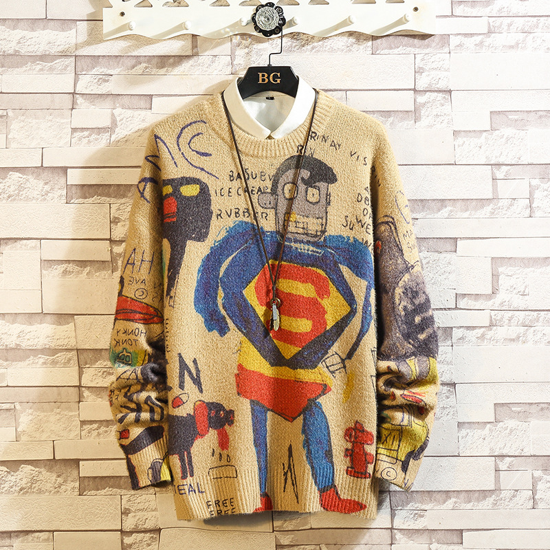 Autumn And Winter Graffiti Round Neck Pullover Sweater Loose Casual Sweater Men's Casual Fashion Wind Pullover Streetwear