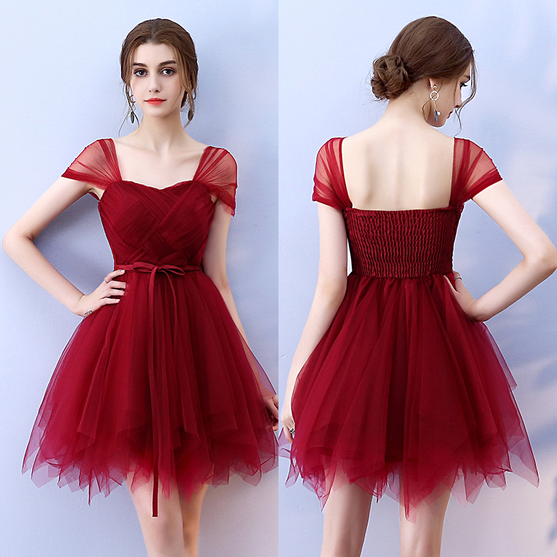 Short White Blue Pink Bridesmaid Dress Elegant Guest Wedding Party Dress Ball Gown Plus Size Women Dress Red For Bridemaide Prom