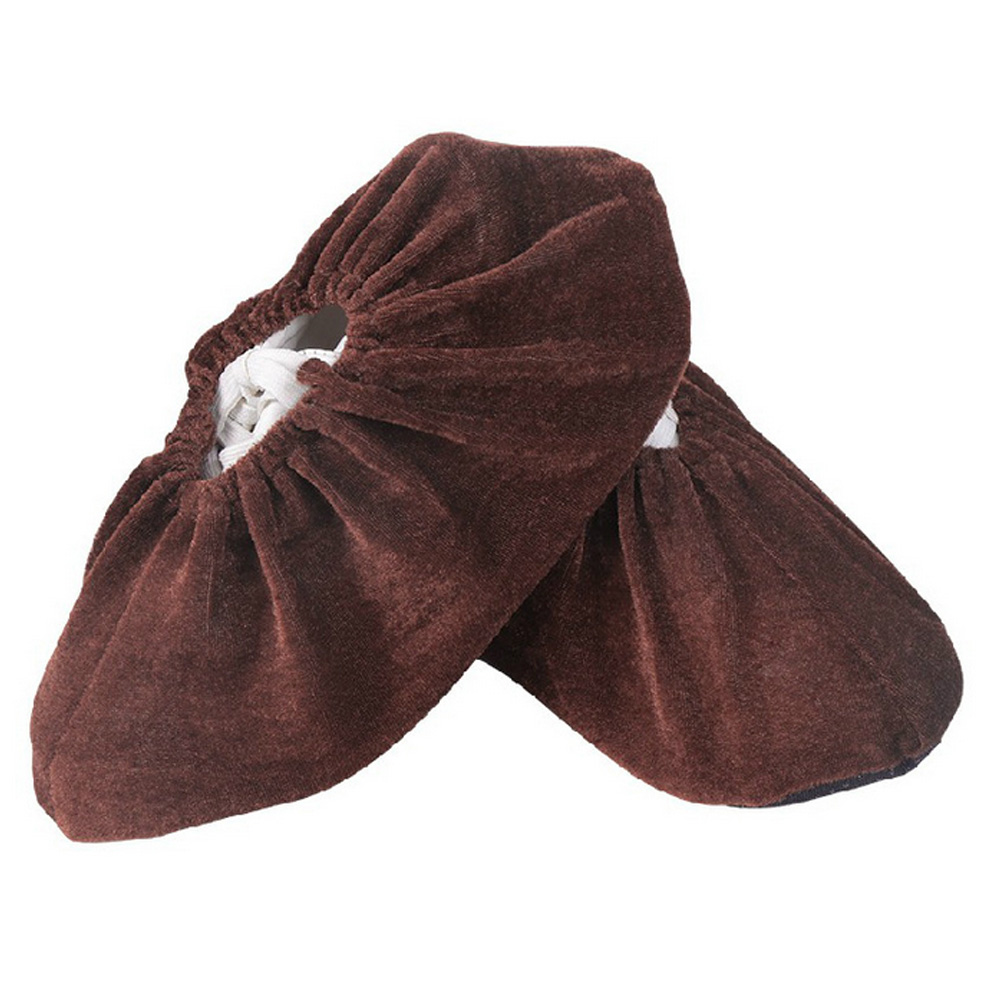 2 Pairs Thick Non-woven Shoe Cover Anti-static Non-slip Washable Shoe Covers Dark Brown / Wine Red / Navy Blue / Black