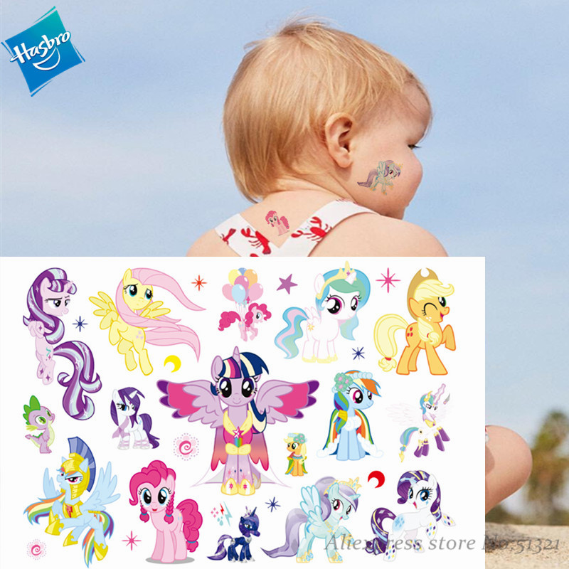 Hasbro My Little Pony Toys Children Cartoon Temporary Tattoo Sticker For Girl Cartoon Waterproof Birthday Party Tool Girl Gift