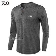 Daiwa Одежда дышащая Рыбацкая рубашка футболка с длинным рукавом спортивная рубашка мужская повседневная походная рубашка Весенняя однотонная свободная футболка с круглым вырезом