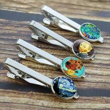 Men Fashion Van Gogh Oil Painting Tie Clips Alloy Metal Silver Simple Necktie Pins Suit Button