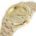 Große Gold Uhr Männer Luxus Marke Diamant Herren Uhren Top Brand Luxus Iced Out Männlichen Quarzuhr Kalender Hip Hop uhr Für Männer