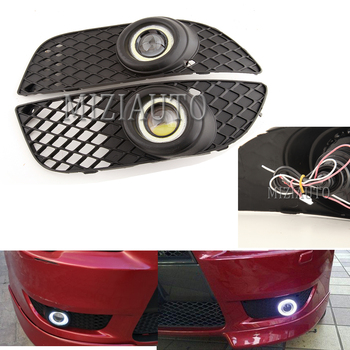 цена на 2Pcs Fog Lights For Mitsubishi Lancer 2008-2014 headlights H3 Fog Lamp Angel Eyes DRL Daytime Running Light foglights fog light