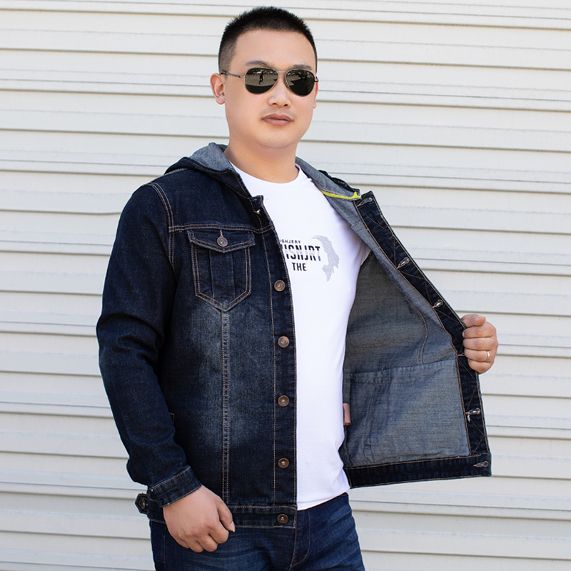 Denim Jacket Men Bomber Jeans Hoody <font><b>Plus</b></font> <font><b>Size</b></font> 4XL <font><b>5XL</b></font> <font><b>6XL</b></font> <font><b>7XL</b></font> <font><b>8XL</b></font> Hoodie Oversize Coats Mens Jean Dark Blue Hooded Men's Jackets image
