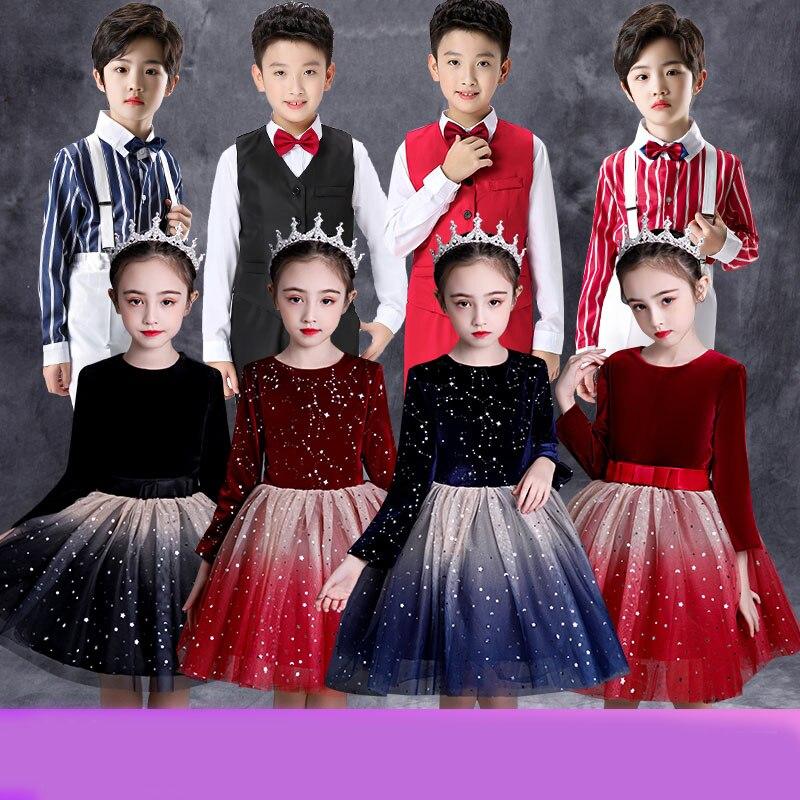 Host's Dress Children's Chorus Costume Performance Clothes Middle School Students' Poetry Recitation Contest Performance Costume
