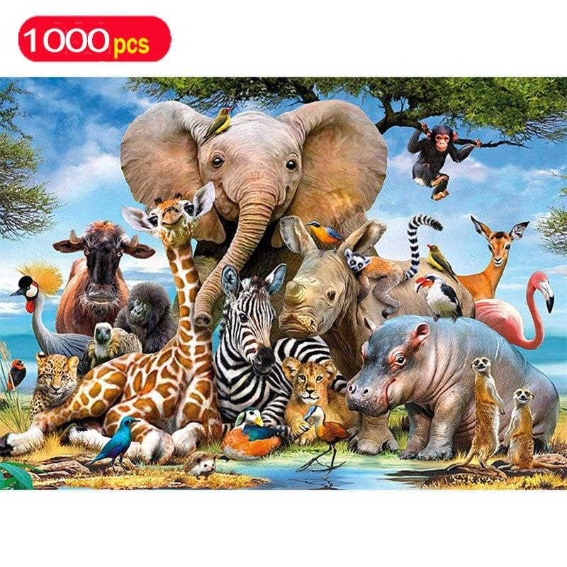 Série animal quebra-cabeça 1000 peças elefante brinquedos educativos quebra-cabeças para crianças oceano mundo quebra-cabeças para adultos figuras de ação brinquedo