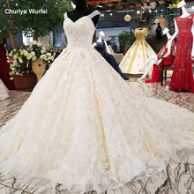 LS31474 beautiful wedding dress with lace flowers and long train quick shipping from china online shop wholesale real as photos(China)