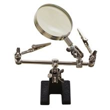 6x Portable Clip-on Metal Holder Three-hand Magnifier Magnifying Glass Lens For Jeweler Coins Stamps(China)