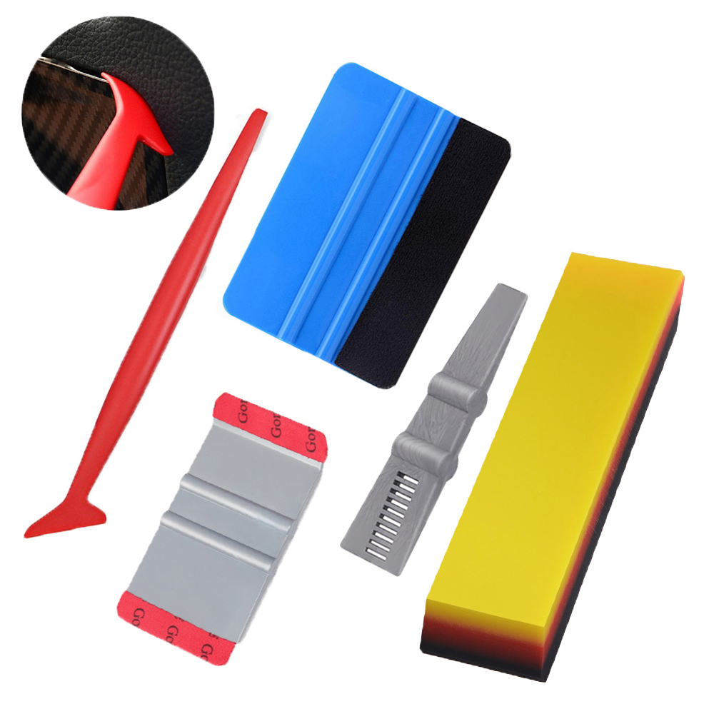EHDIS Vinyl Film Car Wrap Tool Set Carbon Fiber Squeegee Long Edge Scraper Stickers Window Tinting  Auto Car Accessories