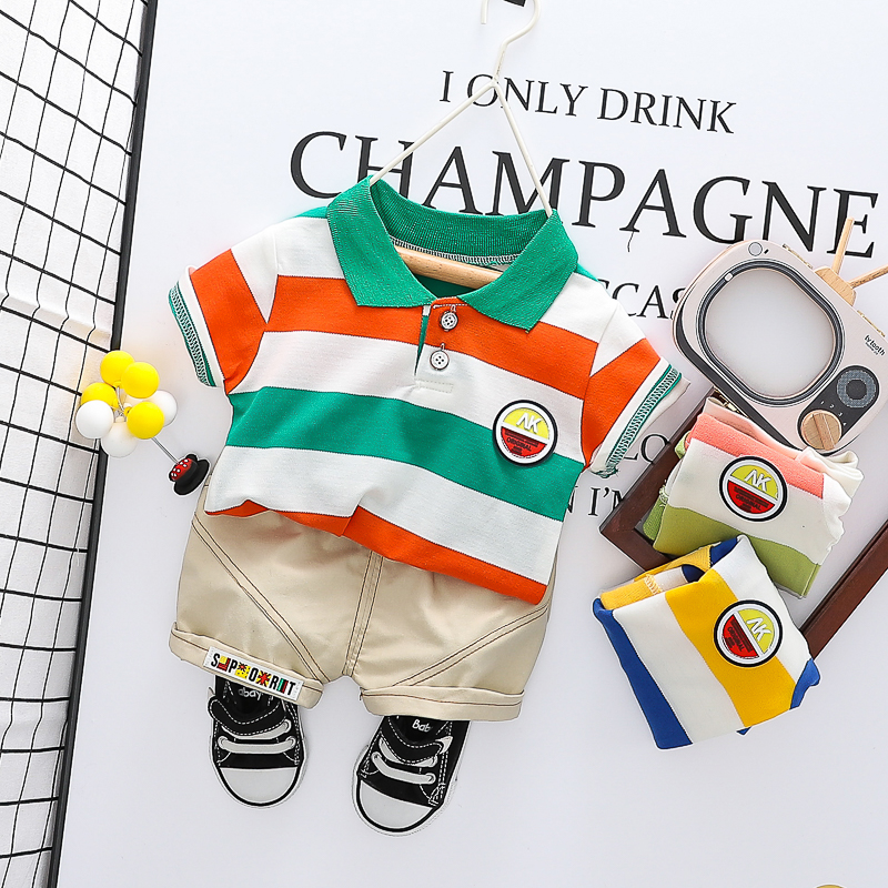 HYLKIDHUOSE Toddler Infant Clothing Sets 2020 Summer Baby Boys Short Sleeve Stripe T Shirt Shorts Kids Children Casual Clothing