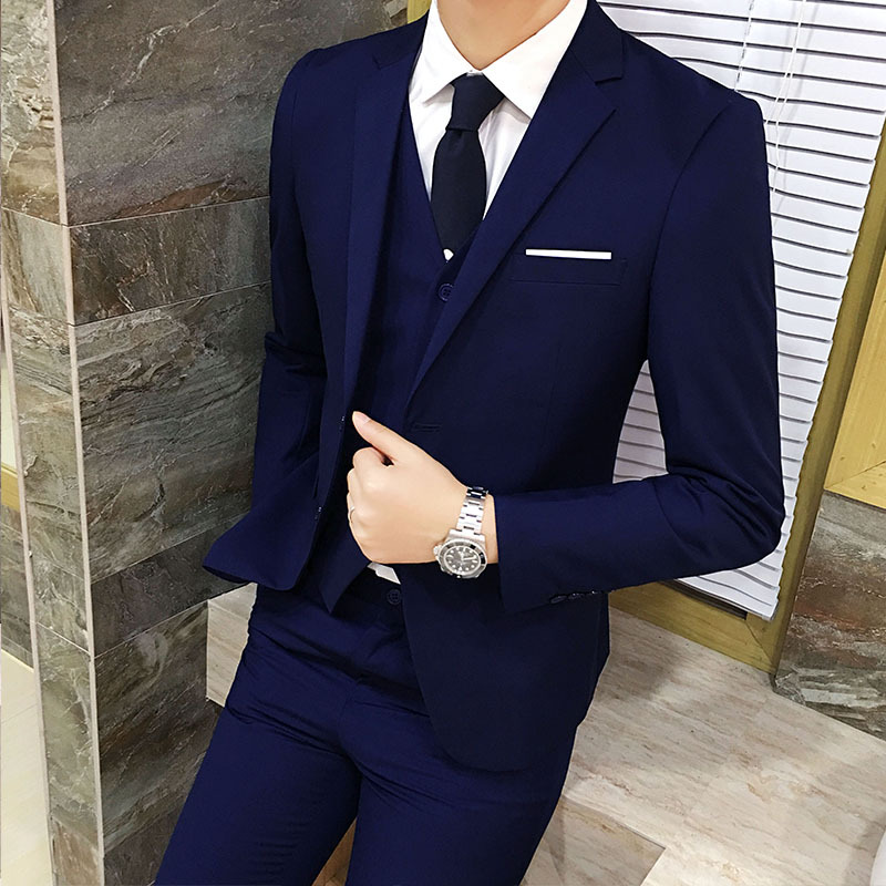 Casual Suit Men Three-piece Set Youth Handsome Korean-style Slim Fit Suit Groom Marriage Formal Dress British Style