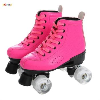 YOBANG 2020 new design rose red Breathable quad roller skate 4 wheel skate shoes for girls