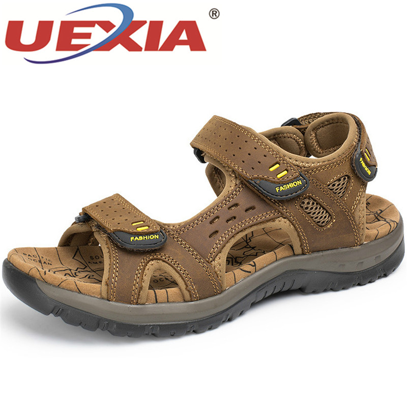 UEXIA 2020 New Fashion Hot Sale Leisure Beach Men Shoes High Quality Leather Sandals Walking Yards Size Summer Footwear 38-48